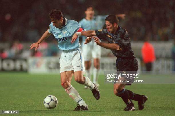 LR Diego Fuser Lazio battles holds off the challenge of Diego Simeone Inter Milan
