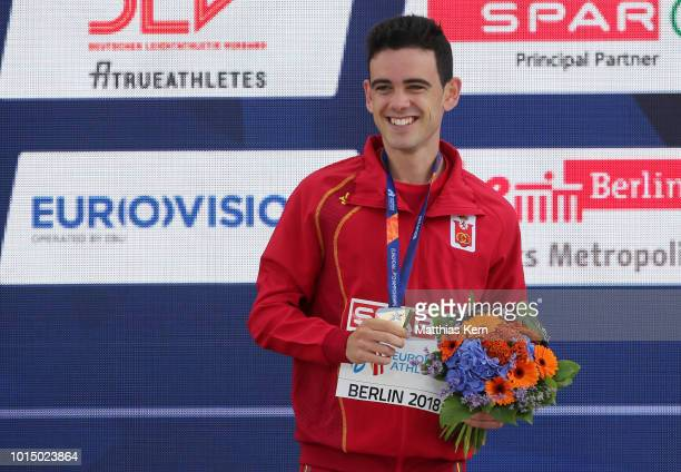 Diego Garcia Carrera of Spain silver poses with his medal for the Men's 20km Race Walk during day five of the 24th European Athletics Championships...