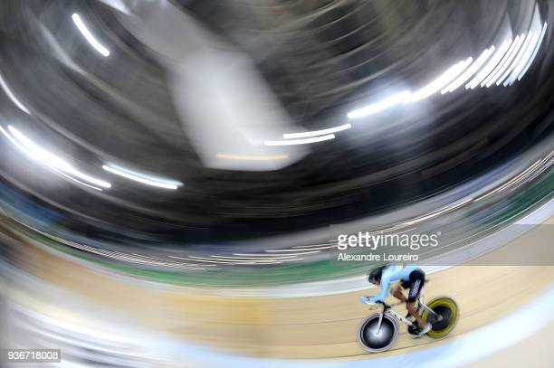 Diego German Duenas Gomez of Colombia competes in the Men's C4 1KM Time Trial Finals on day 01 of the Paracycling World Championships at Rio Olympic...