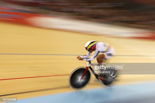 Diego German Duenas Gomez of Colombia competes in the Men's Individual C4 Pursuit Final on day 3 of the London 2012 Paralympic Games at Velodrome on...