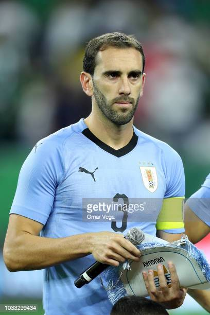 Diego Godin Captain of Uruguay looks on during the national anthem prior to International Friendly match between Mexico and Uruguay at NRG Stadium on...