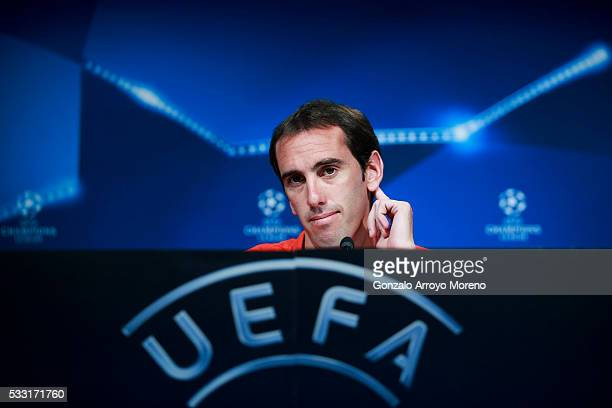 Diego Godin of Atletico de Madrid attends press conference during the Club Atletico de Madrid Open Media Day ahead of the UEFA Champions League Final...