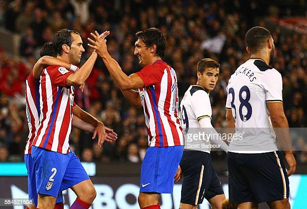 Diego Godin of Atletico de Madrid celebrates after scoring their first goal during 2016 International Champions Cup Australia match between Tottenham...