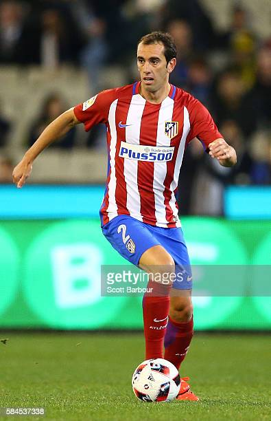 Diego Godin of Atletico de Madrid controls the ball during 2016 International Champions Cup Australia match between Tottenham Hotspur and Atletico de...