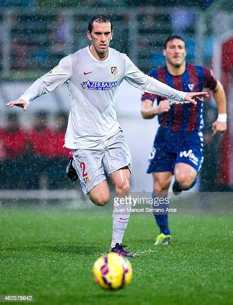 Diego Godin of Atletico de Madrid controls the ball during the La Liga match between SD Eibar andAtletico de Madridat Ipurua Municipal Stadium on...