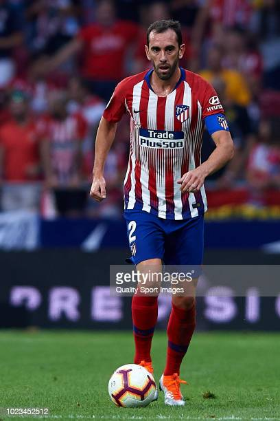 Diego Godin of Atletico de Madrid in action during the La Liga match between Club Atletico de Madrid and Rayo Vallecano de Madrid at Wanda...