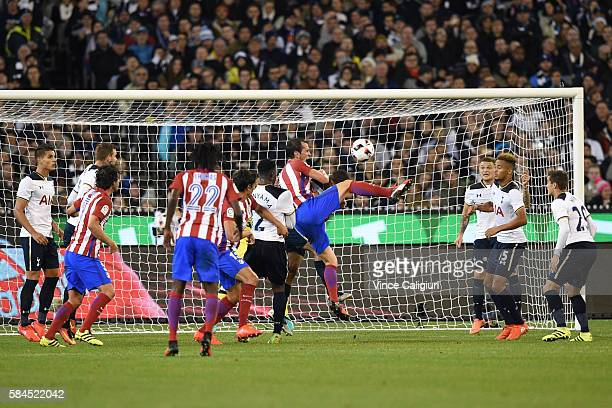 Diego Godin of Atletico de Madrid shoots for goal during 2016 International Champions Cup Australia match between Tottenham Hotspur and Atletico de...