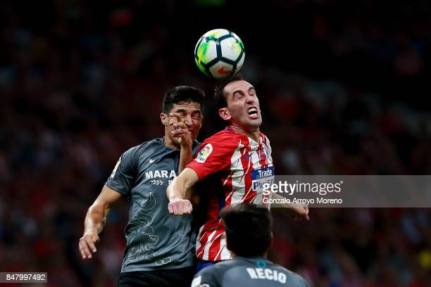 Diego Godin of Atletico de Madrid wins the header after Diego Gonzalez of Malaga CF during the La Liga match between Club Atletico Madrid and Malaga...