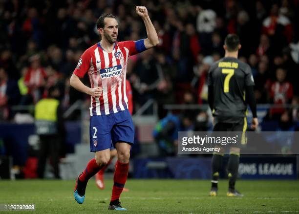 Diego Godin of Atletico Madrid celebrates after scoring a goal during UEFA Champions League round of 16 soccer match between Atletico Madrid and...