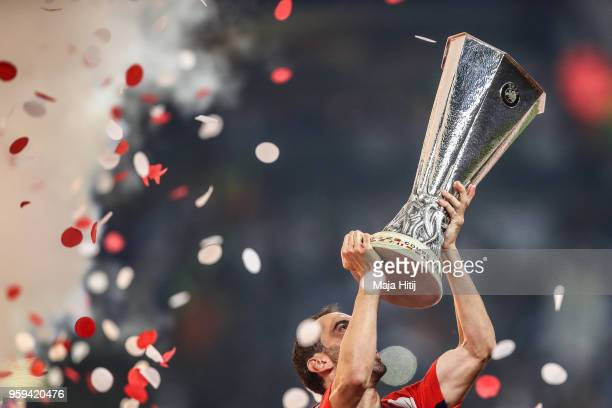 Diego Godin of Atletico Madrid celebrates as he lifts The Europa League trophy after the UEFA Europa League Final between Olympique de Marseille and...