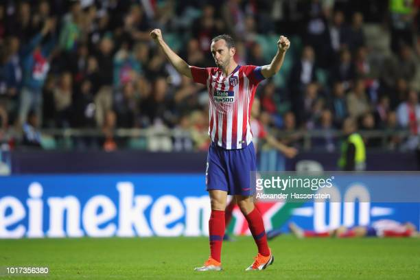 Diego Godin of Atletico Madrid celebrates following the UEFA Super Cup between Real Madrid and Atletico Madrid at Lillekula Stadium on August 15 2018...