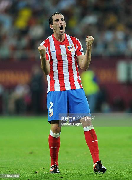 Diego Godin of Atletico Madrid celebrates his team's second goal during the UEFA Europa League Final between Atletico Madrid and Athletic Bilbao at...