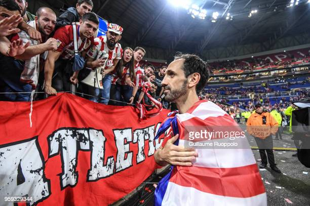 Diego Godin of Atletico Madrid celebrates the victory during the Europa League Final match between Marseille and Atletico Madrid at Groupama Stadium...