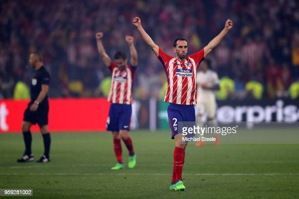 Diego Godin of Atletico Madrid celebrates winning at the final whistle of the UEFA Europa League Final between Olympique de Marseille and Club...