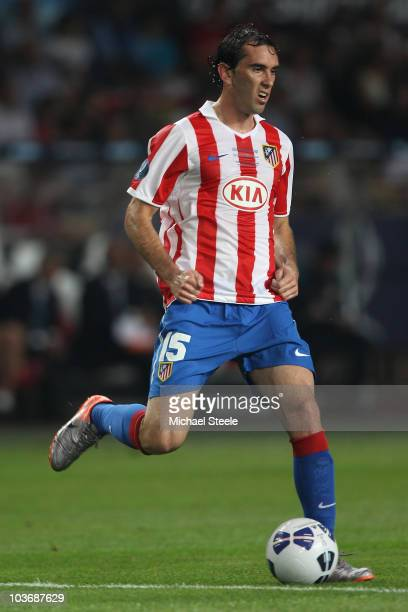 Diego Godin of Atletico Madrid during the UEFA Super Cup match between Inter Milan and Atletico Madrid at Louis II Stadium on August 27 2010 in...