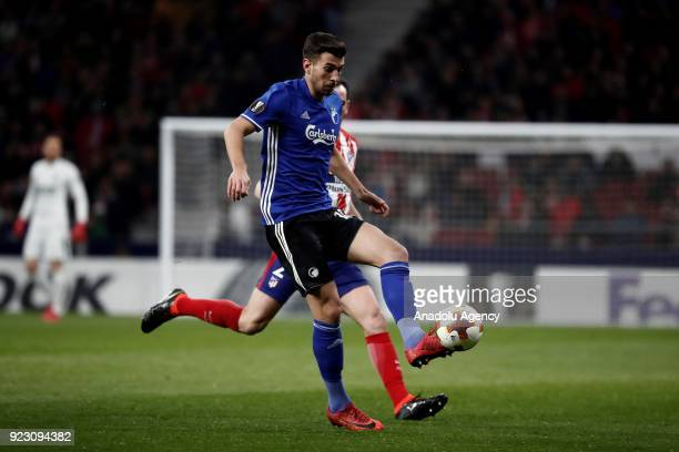 Diego Godin of Atletico Madrid in action against Andrija Pavlovic of FC Copenhagen during the UEFA Europa League Round of 32 second leg soccer match...