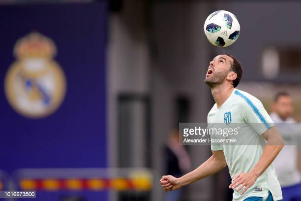 Diego Godin of Atletico Madrid plays with the ball during a training session ahead of the UEFA Super Cup match against Real Madrid CF at Lillekuela...