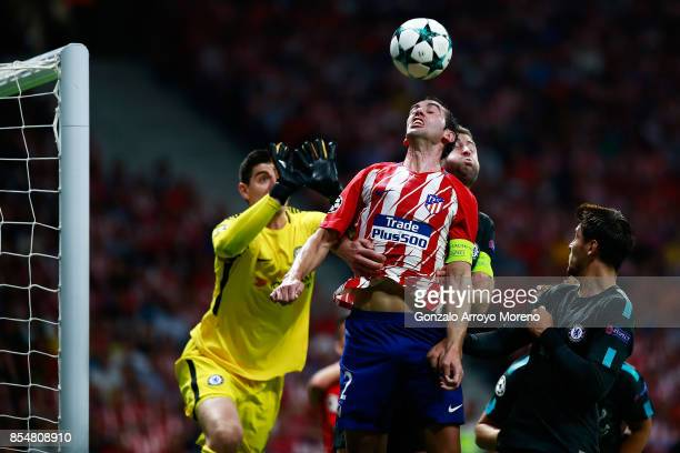 Diego Godin of Atletico Madrid wins a header during the UEFA Champions League group C match between Atletico Madrid and Chelsea FC at Estadio Wanda...