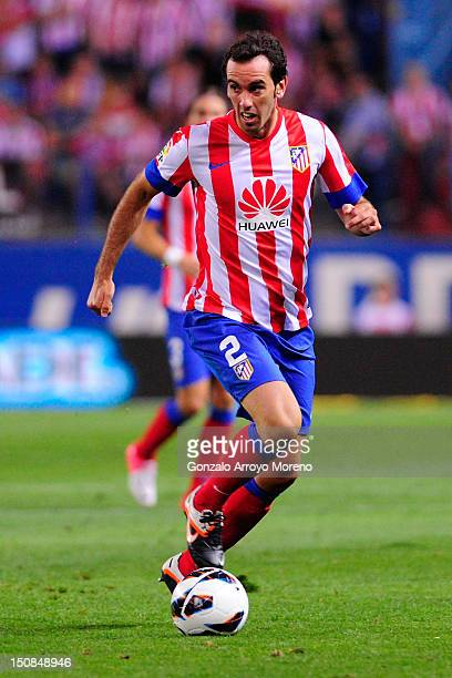 Diego Godin of Club Atletico de Madrid controls the ball during the La Liga match between Club Atletico de Madrid and Athletic Club at Vicente...