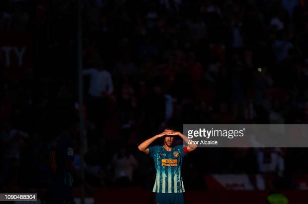 Diego Godin of Club Atletico de Madrid looks on during the La Liga match between Sevilla FC and Club Atletico de Madrid at Estadio Ramon Sanchez...