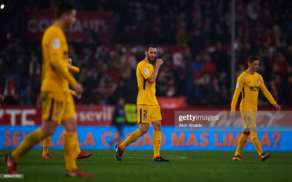 Diego Godin of Club Atletico de Madrid reacts during the Copa del Rey, Quarter Final, second Leg match between Sevilla FC and Atletico de Madrid at Estadio Ramon Sanchez Pizjuan on January 23, 2018 in Seville, Spain.