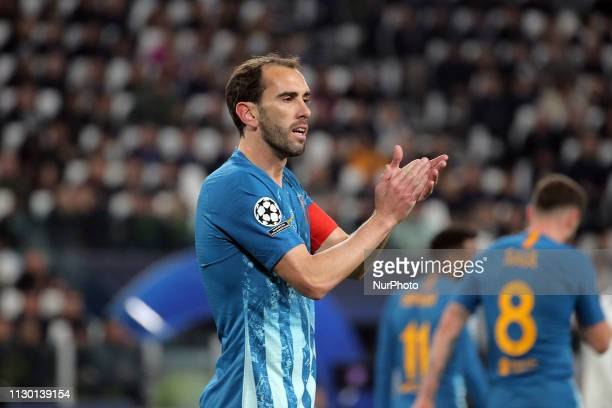 Diego Godin of Club Atletico Madrid during the UEFA Champions League Round of 16 Second Leg match between Juventus FC and Club de Atletico Madrid at...