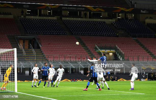 Diego Godin of FC Internazionale in action during the UEFA Europa League round of 32 second leg match between FC Internazionale and PFC Ludogorets...