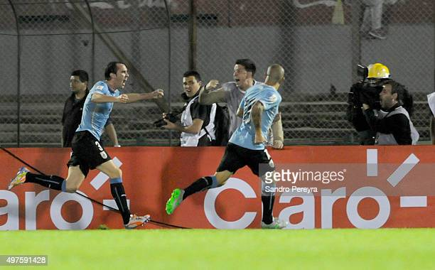Diego Godin of Uruguay celebrates after scoring the opening goal during a match between Uruguay and Chile as part of FIFA 2018 World Cup Qualifiers...