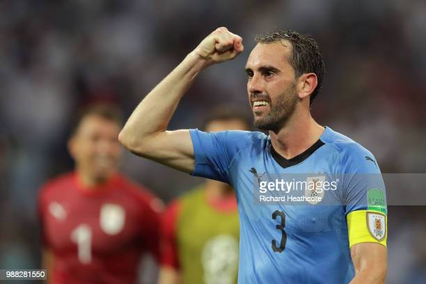 Diego Godin of Uruguay celebrates following his sides victory in the 2018 FIFA World Cup Russia Round of 16 match between Uruguay and Portugal at...