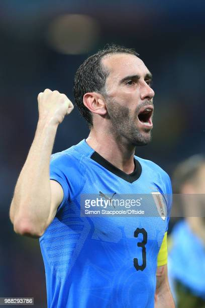 Diego Godin of Uruguay celebrates their 21 victory and advancement to the quarterfinals during the 2018 FIFA World Cup Russia Round of 16 match...