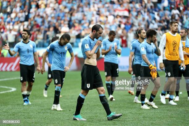 Diego Godin of Uruguay looks dejected following his sides defeat in the 2018 FIFA World Cup Russia Quarter Final match between Uruguay and France at...