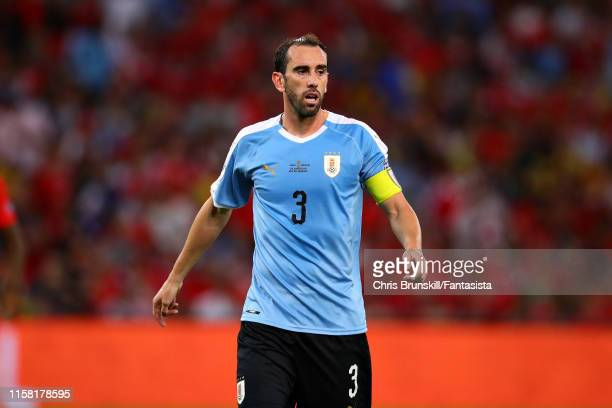Diego Godin of Uruguay looks on during the Copa America Brazil 2019 group C match between Chile and Uruguay at Maracana Stadium on June 24, 2019 in...