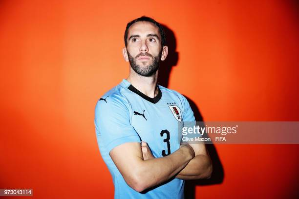 Diego Godin of Uruguay poses during the official FIFA World Cup 2018 portrait session at the Borsky Sports Centre on June 12 2018 in Nizhny Novgorod...