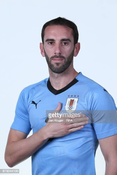 Diego Godin of Uruguay poses for a portrait during the official FIFA World Cup 2018 portrait session at Borsky Sport Centre on June 12 2018 in...
