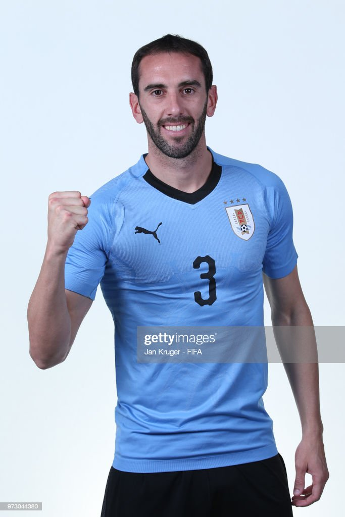 Diego Godin of Uruguay poses for a portrait during the official FIFA World Cup 2018 portrait session at Borsky Sport Centre on June 12, 2018 in Nizhniy Novgorod, Russia.