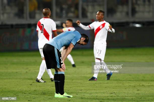 Diego Godin of Uruguay reacts after a defeat in a match between Peru and Uruguay as part of FIFA 2018 World Cup at Nacional Stadium on March 28 2017...
