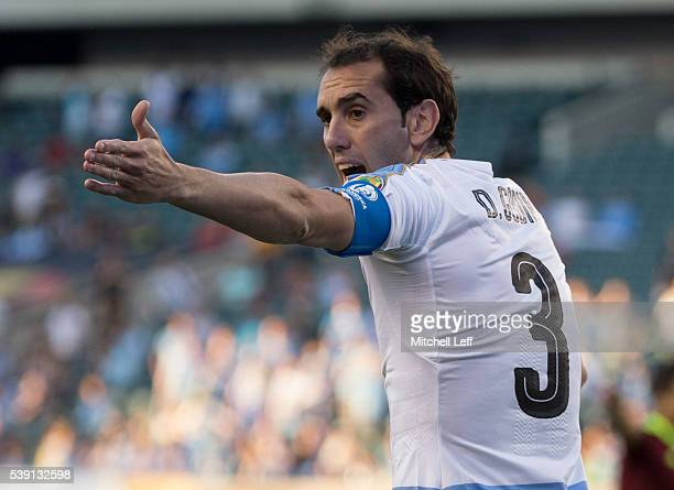 Diego Godin of Uruguay reacts in the game against Venezuela during the 2016 Copa America Centenario Group C match at Lincoln Financial Field on June...