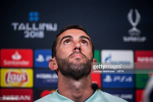 Diego Godin speaks during Atletico Madrid press conference at A le Coq Arena ahead of the UEFA Super Cup on August 14 2018 in Tallinn Estonia