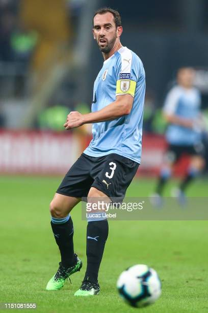 Diego Godín of Uruguay kicks the ball during the Copa America Brazil 2019 group C match between Uruguay and Japan at Arena do Gremio on June 20 in...