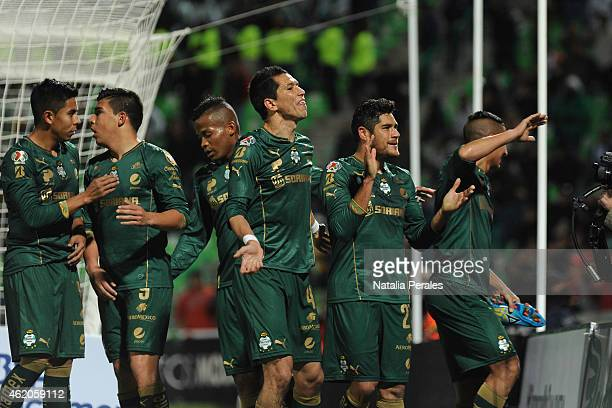 Diego Gonzalez celebrates wth teammates after scoring the first goal of his team during a match between Santos Laguna and Monterrey as part of 3rd...