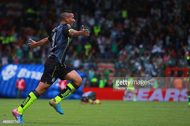 Diego Gonzalez of Santos Laguna celebrates after scoring the second goal of his team during a match between Toluca and Santos Laguna as part of 6th...