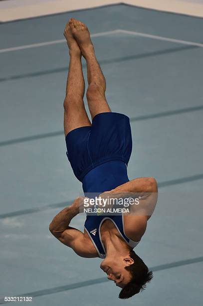 Diego Hypolito of Brazil competes in the Men's Floor Final during the Artistic Gymnastics World Challenge Cup at the Ibirapuera coliseum in Sao Paulo...
