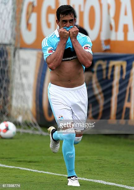 Diego Ifran of Sporting Cristal celebrates after scoring the third goal of his team during a match between Sporting Cristal and Cesar Vallejo as part...
