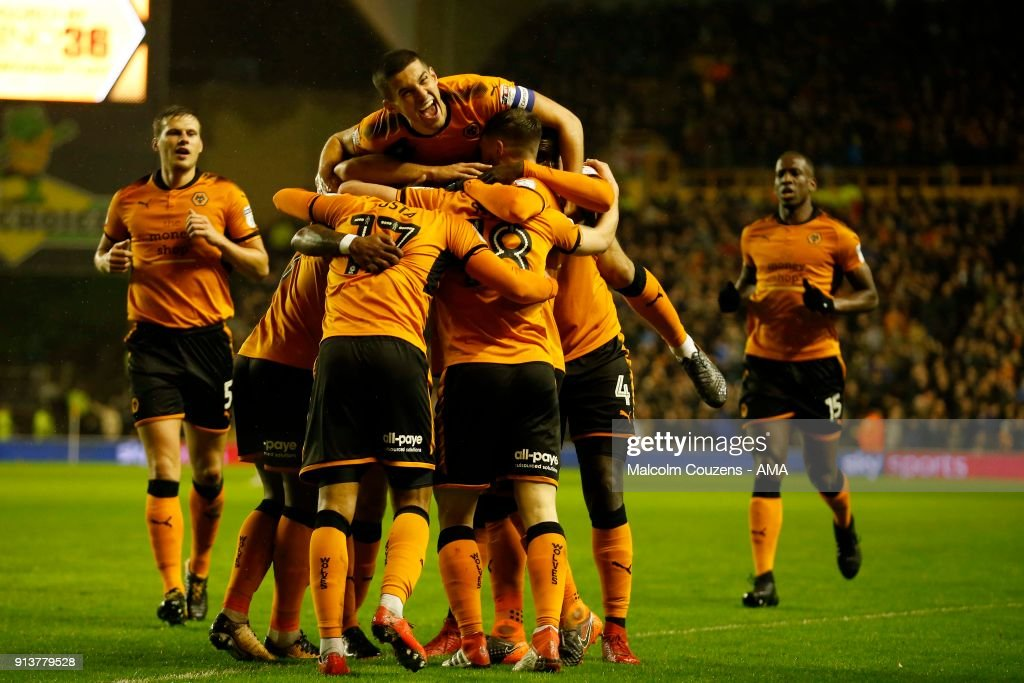 Diego Jota of Wolverhampton Wanderers celebrates scoring a goal to make it 2-0 during the Sky Bet Championship match between Wolverhampton and Sheffield United at Molineux on February 3, 2018 in Wolverhampton, England.