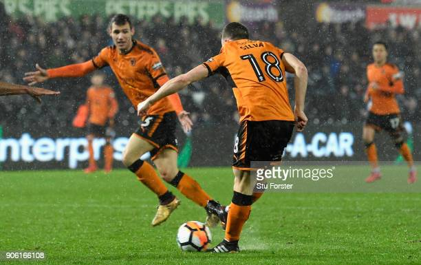 Diego Jota of Wolverhampton Wanderers scores his sides first goal during The Emirates FA Cup Third Round Replay between Swansea City and...