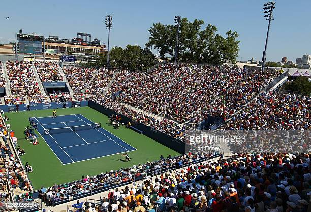 Diego Junqueira of Argentina returns a shot against Juan Martin Del Potro of Argentina during Day Five of the 2011 US Open at the USTA Billie Jean...