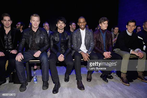 Diego Klattenhoff , Joe Jonas, Eric West, Oliver Cheshire and Tom Lipinski attend the Todd Snyder fashion show during Mercedes-Benz Fashion Week Fall...
