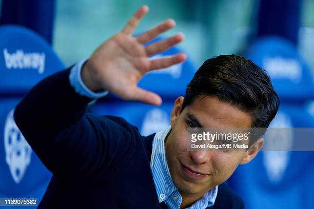 Diego Lainez Leyva of Real Betis Balompie waves his hand prior to the La Liga match between Levante UD and Real Betis Balompie at Ciutat de Valencia...