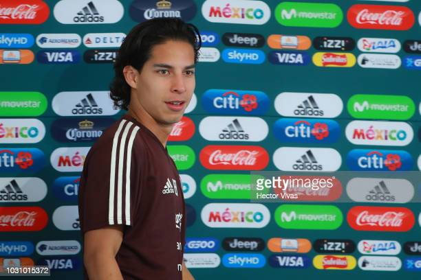 Diego Lainez looks on during Mexico National Team press conference prior to the international friendly match against Uruguay at CAR on September 4...