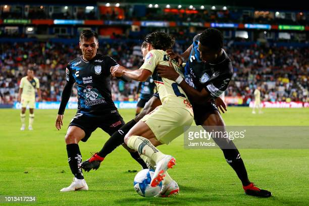 Diego Lainez of America and Oscar Murillo of Pachuca compete for the ball during the third round match between Pachuca and Club America as part of...